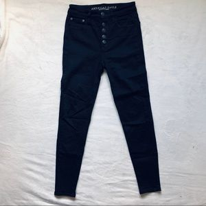 Super high rise button fly jeggings